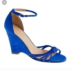 JCrew Blue Suede Ready or Knot Wedges- Sz 8